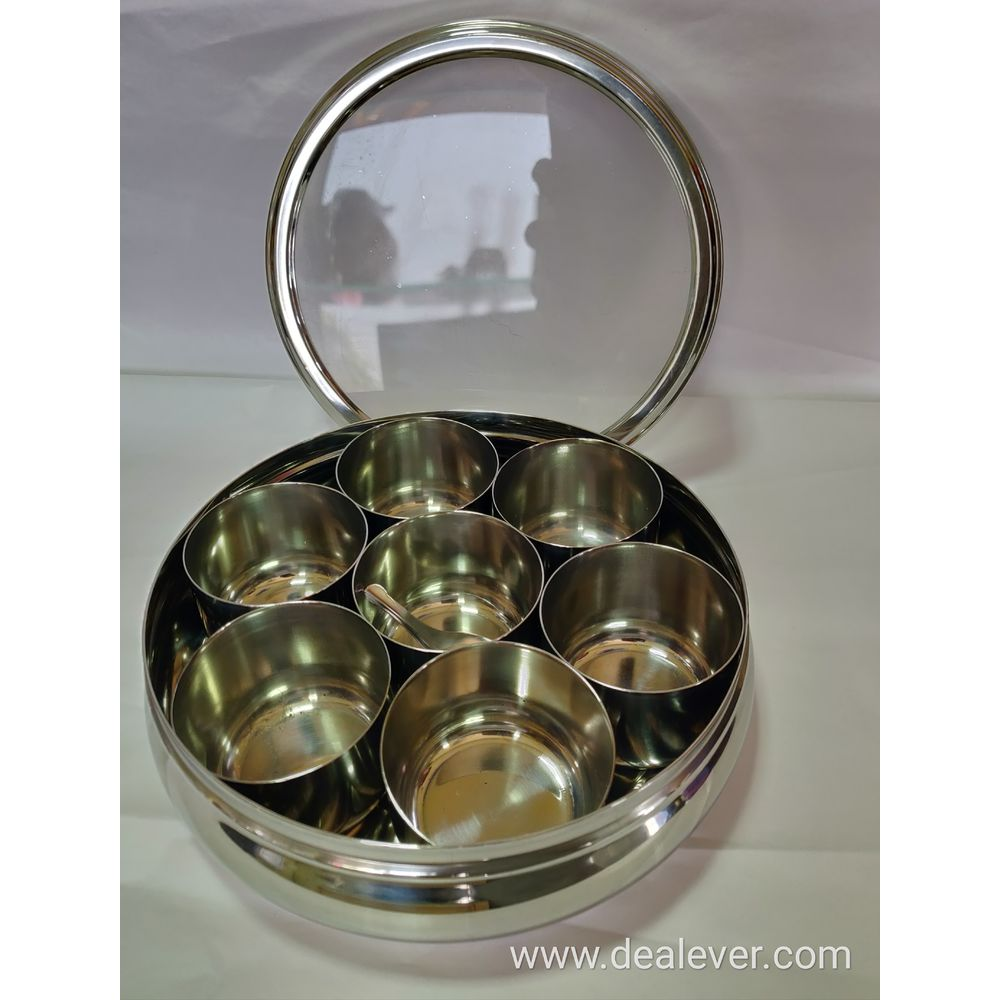 Stainless Steel Masala Dabba with glass lid